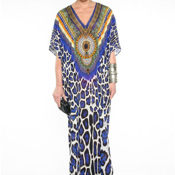 Parides Blue Jaguar Print Kaftan | High End Resort Wear
