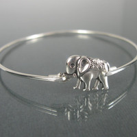 Silver Elephant Bangle Bracelet - Silver Elephant - Elephant Jewelry - Elephant Bracelet - Elephant Bangle - Stacking Bangles