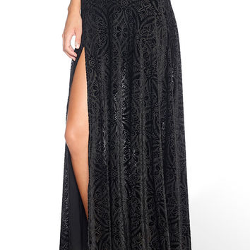 BURNED VELVET SINGLE SPLIT SKIRT