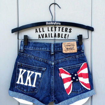 Levi high waisted denim shorts - Greek letters american Flag All Sizes Available