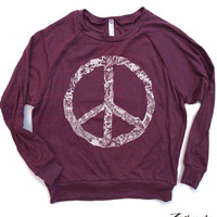 Womens PEACE lace design Lightweight Tri-Blend Pullover - american apparel S M L (6 Color Options)
