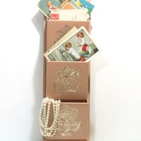 Vintage Phone Message Center Letters Mail Notes Key Holder CHRISTMAS CARDS Pearl Tan Peach Beige and Silver Plastic