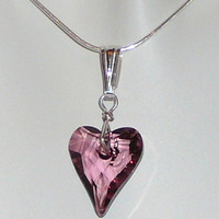Antique Pink Swarovski Wild Heart pendant - Sterling silver - Love gift necklace - Free shipping to Canada & USA