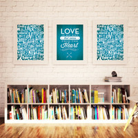 Custom Home Decor- Love Is An Art That Comes from the Heart - 3 piece Wall Art with Love Pattern
