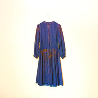 Long Sleeve Dress, Blue Vintage Dress With Buttons And Ornaments And Lining