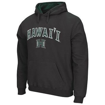Men's Charcoal Hawaii Warriors Arch & Logo Tackle Twill Pullover Hoodie