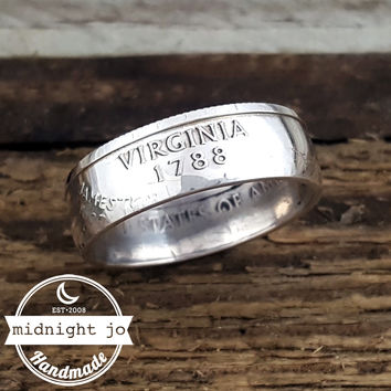 Virginia 90% Silver State Quarter Coin Ring