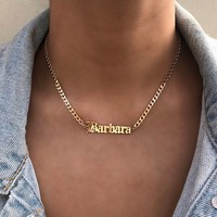 SOLID OLD ENGLISH Necklace, custom necklace, personalized necklace, old english necklace, name necklace, old english choker, curb chain