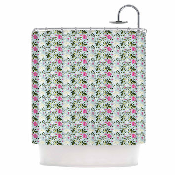"Mayacoa Studio ""Romantic French Park"" Blue Pink Shower Curtain"