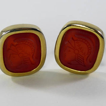 Greek Soldier Clip on Earrings Signed Jones of New York, Carved Carnelian Gemstones, Gold Tone Square Setting, Vintage 1990s Jewelry