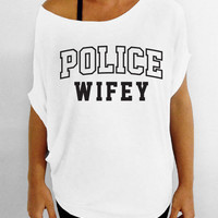 Police Wifey -  Off the Shoulder Slouchy Tee - White