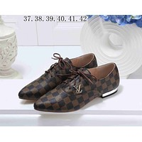 LV Louis Vuitton Popular Women Casual Lace Up Flat Single Shoe Tartan Print I-KSPJ-BBDL