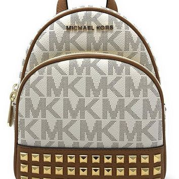 CREYONG6 Michael Michael Kors Abbey Extra-Small Signature Studded Backpack Vanilla/Acorn