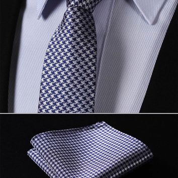 100% Silk Woven Slim Skinny Men Tie Necktie Handkerchief Pocket Square Suit Set