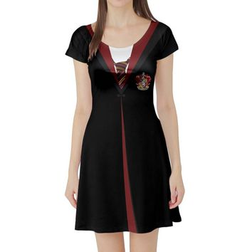Harry Potter Gryffindor Inspired Short Sleeve Skater Dress