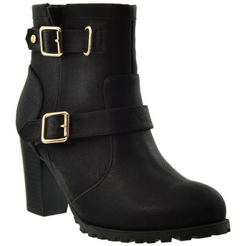 Womens Gold Buckle Ankle Booties Black