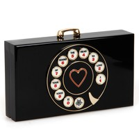 Charlotte Olympia Black Perspex Dial Pandora Clutch Bag