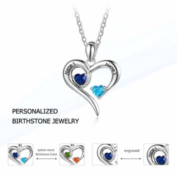 Personalized 925 Sterling Silver 2 Birthstone Necklace Pendants Engraved Heart BirthStones Jewelry  Mom Gift