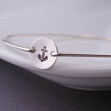 Nautical Jewelry, Anchor Bracelet, Sterling Silver Hand Stamped Anchor Bangle Bracelet