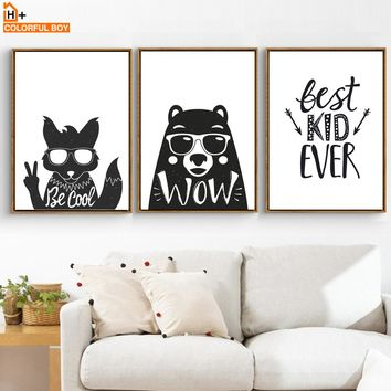 COLORFULBOY Bear Fox Wall Art Canvas Painting Black White Animal Nordic Poster And Prints Wall Pictures For Kids Baby Room Decor