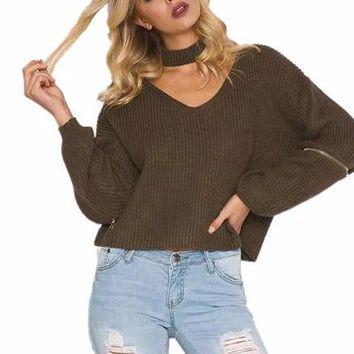 Women's Olive Green V-Neck Choker Style Knitted Pullover Sweater Top