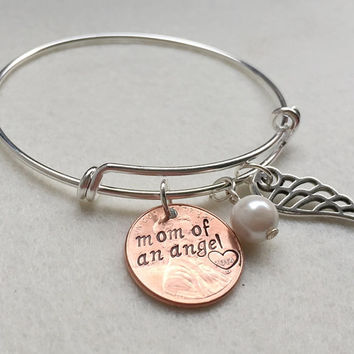 Mom of an angel bracelet, Personalized bracelet for women, penny bracelet for mom, Mother's day Gift, friendship bracelet, Charm bracelet