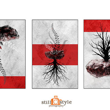 Digital Art, Set of 3 Digital illustration, Red Abstract Print, Canvas triptych, Canvas wall art, Home decor, fine art,