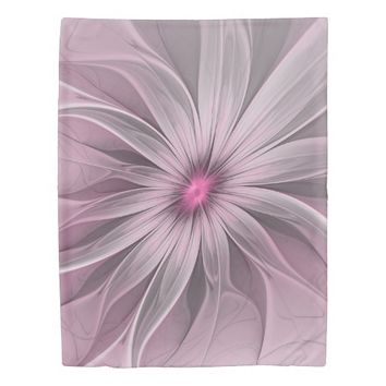 Flower waiting for a Bee Abstract Fractal Art Duvet Cover