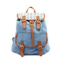 Lace Trim Canvas Backpack: Charlotte Russe