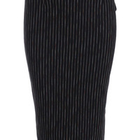 Vertical Striped Split Back Black Skirt