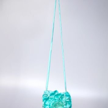 Aqua Purse Adorned with a Flower and a Butterfly