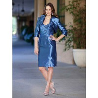 Fashionable A-line dropped waist taffeta mother dress of the bride