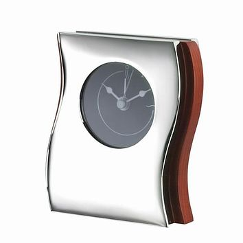 Personalized Free Engraving Wood with Silver Accent Desk Alarm Clock