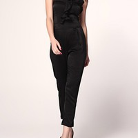 Casual Strapless Flounce Plain Slim-Leg Jumpsuit