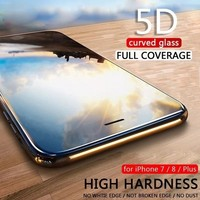 5D Curved Tempered Glass Film For iPhone X 8 7 6S 6 Plus 9H Screen Protector for iPhone 8 Plus Full Cover for iPhone 7 Plus X