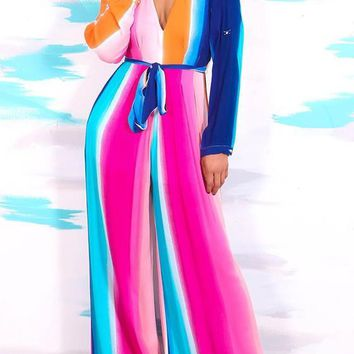 Rose Carmine Colorful Sashes Tie Back Deep V Long Jumpsuit