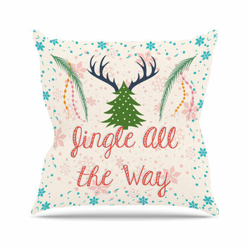 "Famenxt ""Jingle All The Way"" Holiday Digital Throw Pillow"