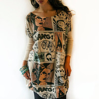 oversize beige comics knitted tunic , oversize tunic , oversize dress