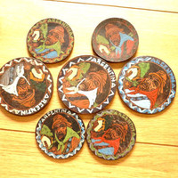 Vintage Leather Souvenir Coasters - Set of Seven- Retro Decor 1960s ,Vintage Argentina souvenir,Rare Collectible item