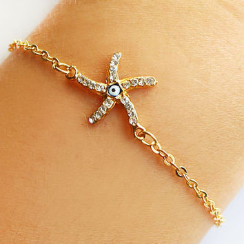 Rhinestone starfish bracelet evil eye bracelet gold plated chain best friend birthday gift for her valentine gift dainty bracelet