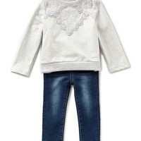 7 for all mankind Baby Girls 12-24 Months Long-Sleeve French Terry Tee & Denim Jeans Set | Dillards