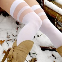 Double Sheer Banded Thigh-High
