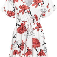 Reaching Out White Red Floral Pattern Short Sleeve Cross Wrap V Neck Ruffle Flare A Line Casual Mini Dress