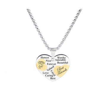Two Tone Solid Stainless Steel Heart Pendant Necklace by Pink Box - BEST FRIEND