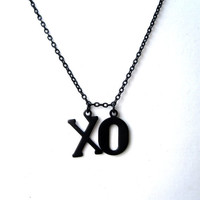 Black XO Necklace BFF Necklace Hugs and Kisses