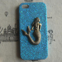 Steampunk Mermaid Blue bling glitter hard case For Apple iPhone 5 case cover