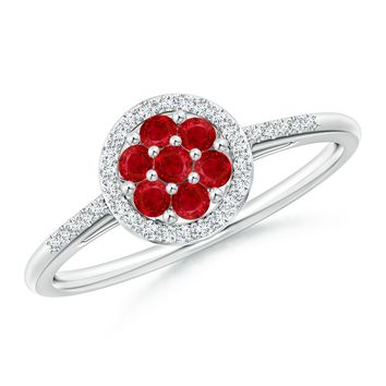 Classic Diamond Halo Set Ruby Cluster Ring