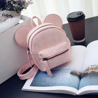New Women's Leather Backpack Cartoon Children Backpacks Mini Backpacks For Teenage Girls Small Mouse Backpack