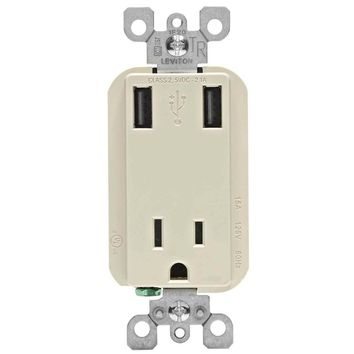 Leviton 15 Amp Tamper Resistant Combo Outlet and USB Charger - Light Almond-R08-T5630-00T at The Home Depot
