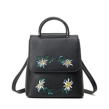 Embroidered Leather Backpack For Teenage Girls